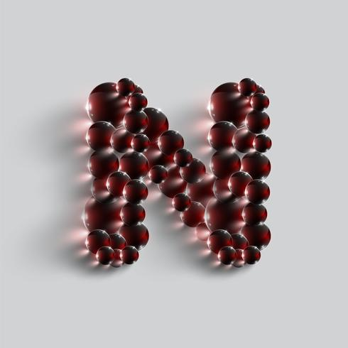 Una carta hecha por esferas rojas, vector.