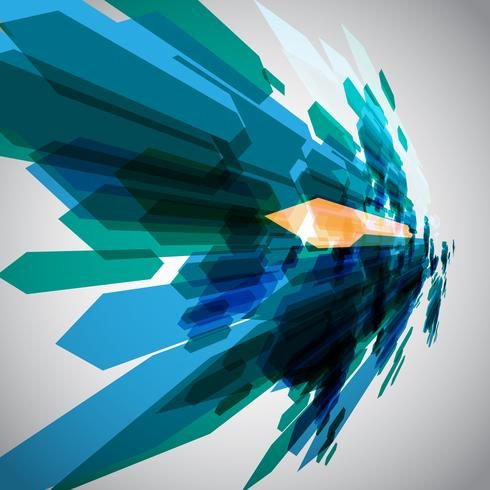 Flechas azules en vector de movimiento