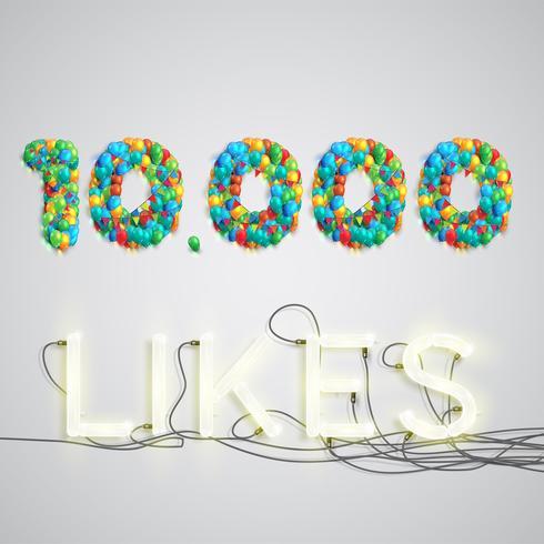 Anzahl mag gemacht durch Ballon, vektorabbildung