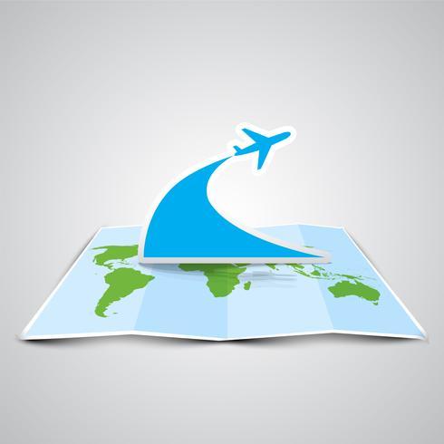 Een kaart en een vliegtuig gemaakt door papier, vector