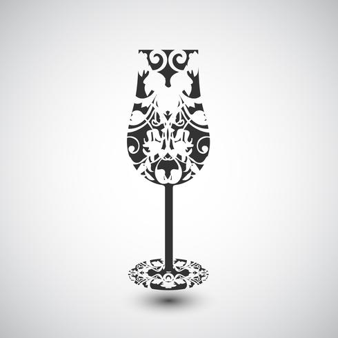 A wine glass with a pattern, vector