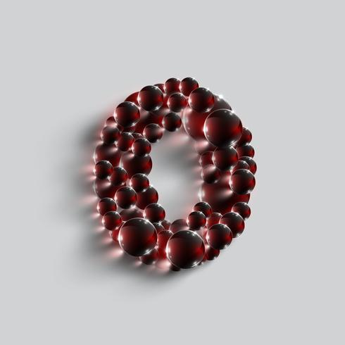 Um, número, feito, por, vermelho, esferas, vetorial