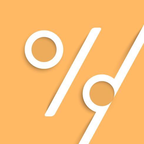Een procentteken gemaakt door papier, vector
