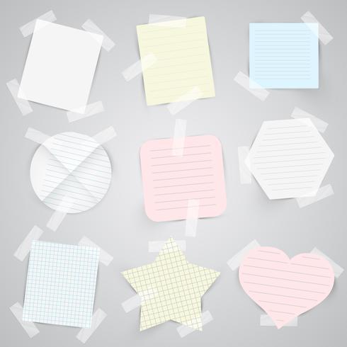 Etiquetas de papel con cinta adhesiva, vector