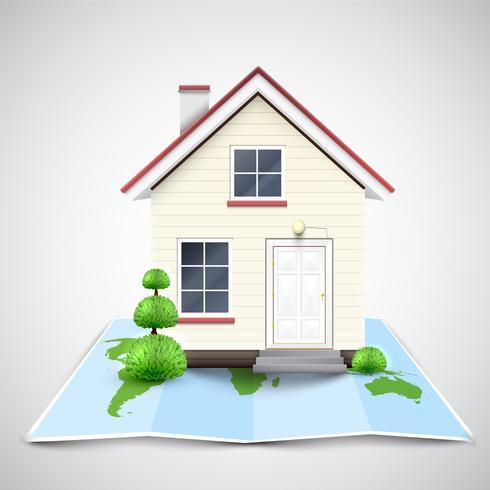 House on a map, vector