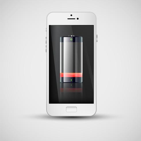 Realistisk smartphone laddning, vektor illustration