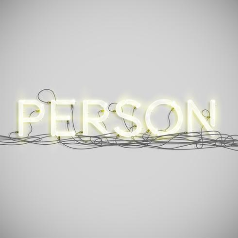 Tipo de palavra elétrica de néon, ilustração vetorial