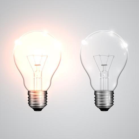 Ampoules réalistes suspendus et travaillant, vector