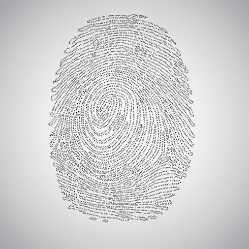 Impressão digital feita por código binário, vetor