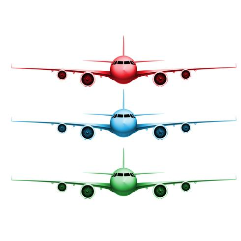 Three different colored realistic vector planes