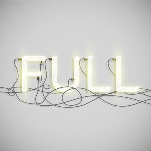 Tipo de palabra eléctrico de neón, ilustración vectorial