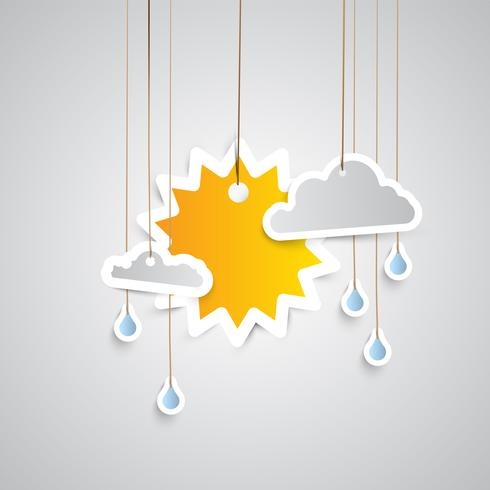 Weather icon made by paper  vector