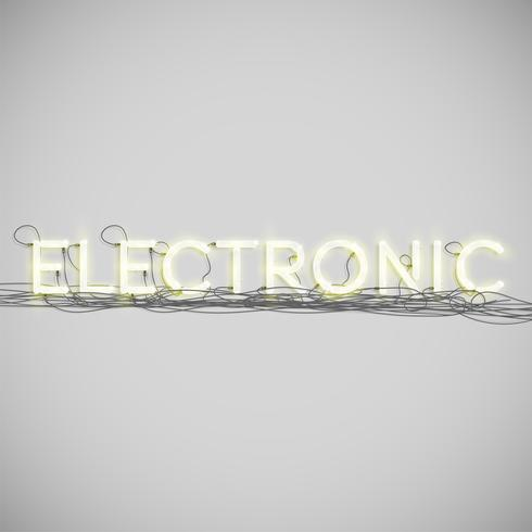 Neon electric word type, vector illustration