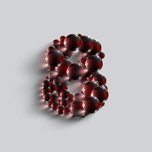 Un número hecho por esferas rojas, vector.