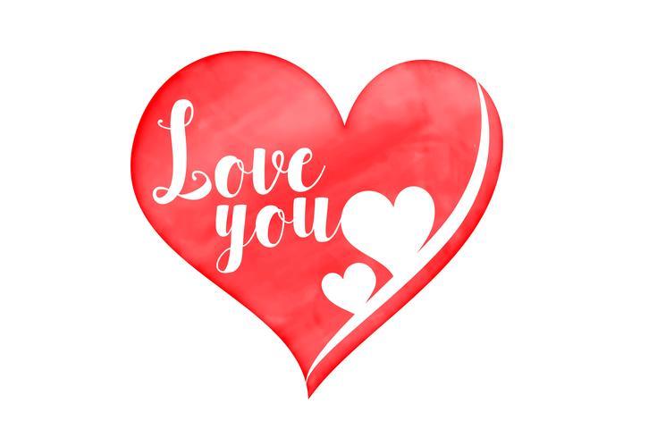 corazón de acuarela con amor tu mensaje