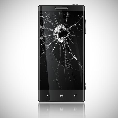Broken mobile phone, vector