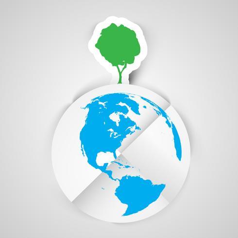 Illustration vectorielle d'un arbre sur la terre