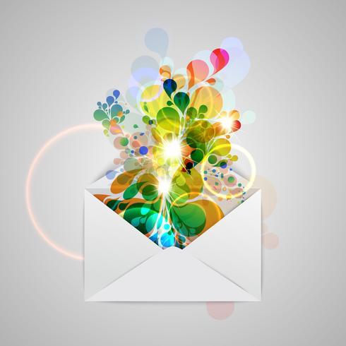 Ett kuvert med en färgstark abstrakt illustration, vektor