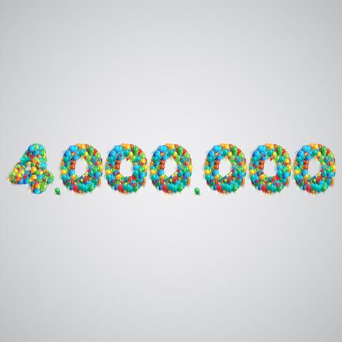 Número hecho por globos de colores, vector