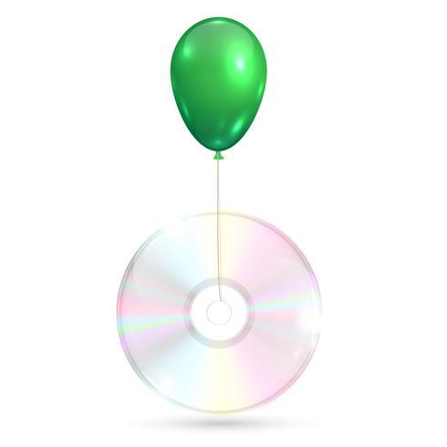 CD / DVD mit einem grünen Ballon auf weißem Hintergrund, Vektorillustration