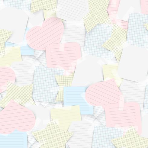 Etiquetas de papel com fita adesiva, vetor