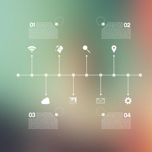 Timeline infographic with unfocused background and icons set for business design, vector