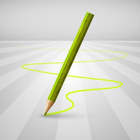 Crayon en bois réaliste sur fond blanc, illustration vectorielle