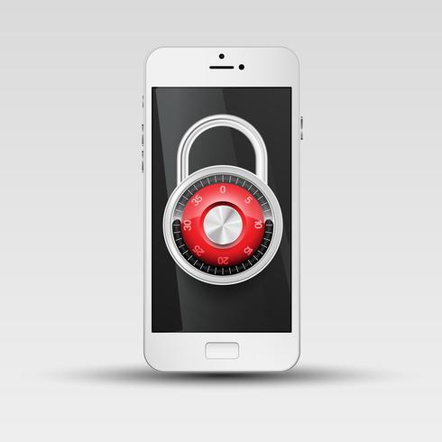 Illustration de sécurité de téléphone, vector