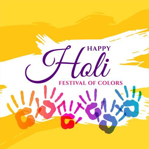 affiche de fête de joyeux holi avec des mains colorées