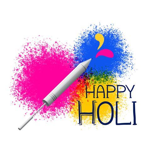 farben splatter mit pichkari für holi festival gruß