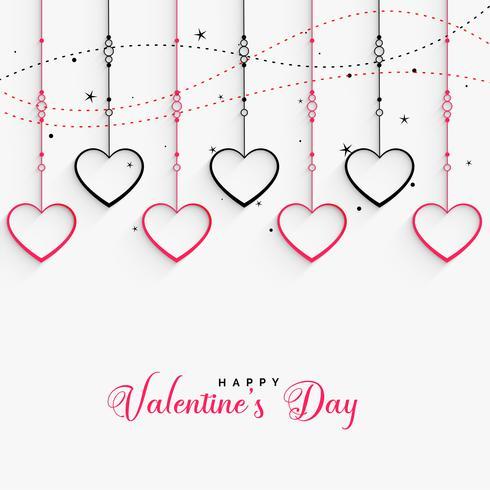 Colgando corazones precioso día de San Valentín fondo