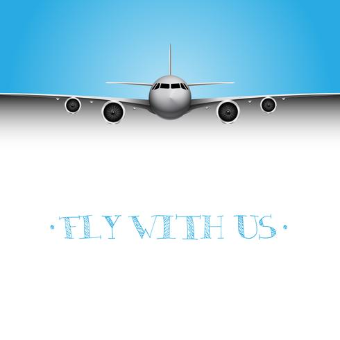 Realistic plane with 'Fly with us' title, business vector flyer