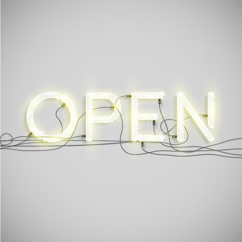 Tipo di parola elettrico al neon, illustrazione vettoriale
