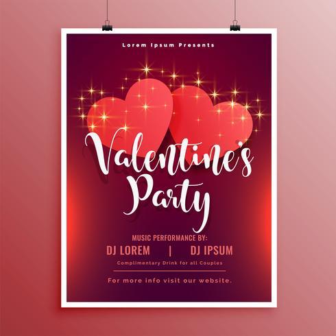 feliz día de San Valentín fiesta folleto folleto hermoso diseño