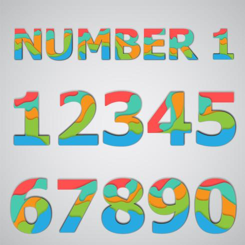 Colorful papercut layered number set, vector