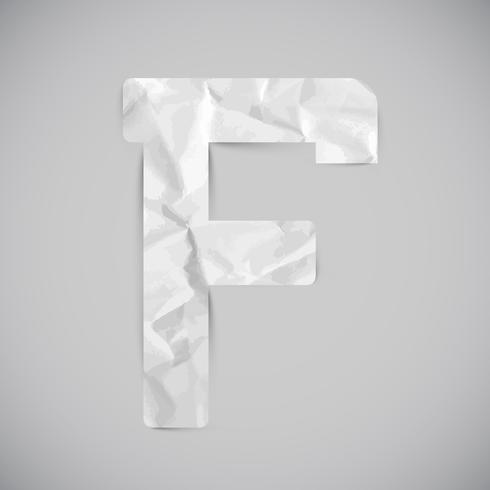 Lettera fatta da carta stropicciata con ombre, vettoriale