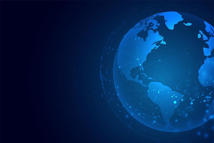 tecnologia terra con sfondo di connessione di rete