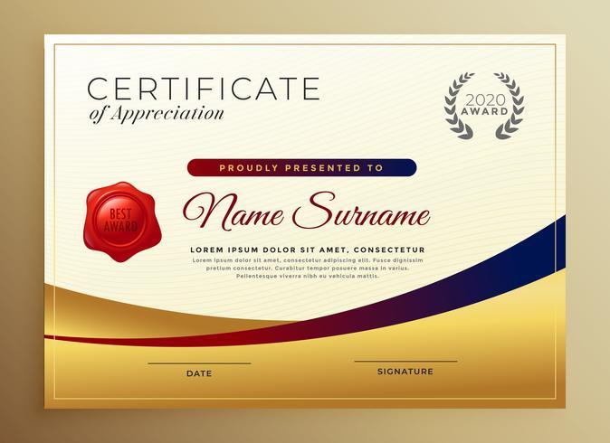 premium gyllene certifikat för uppskattning mall