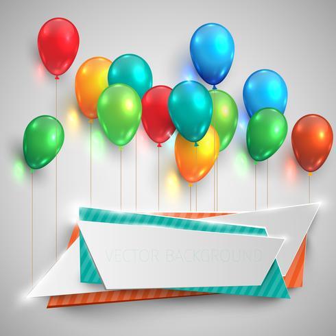 Balões de cor brilhante levantar rótulos, vetor
