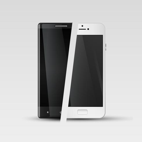 Smartphones realistici, illustrazione vettoriale