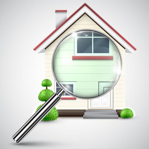 House with a magnifier, vector
