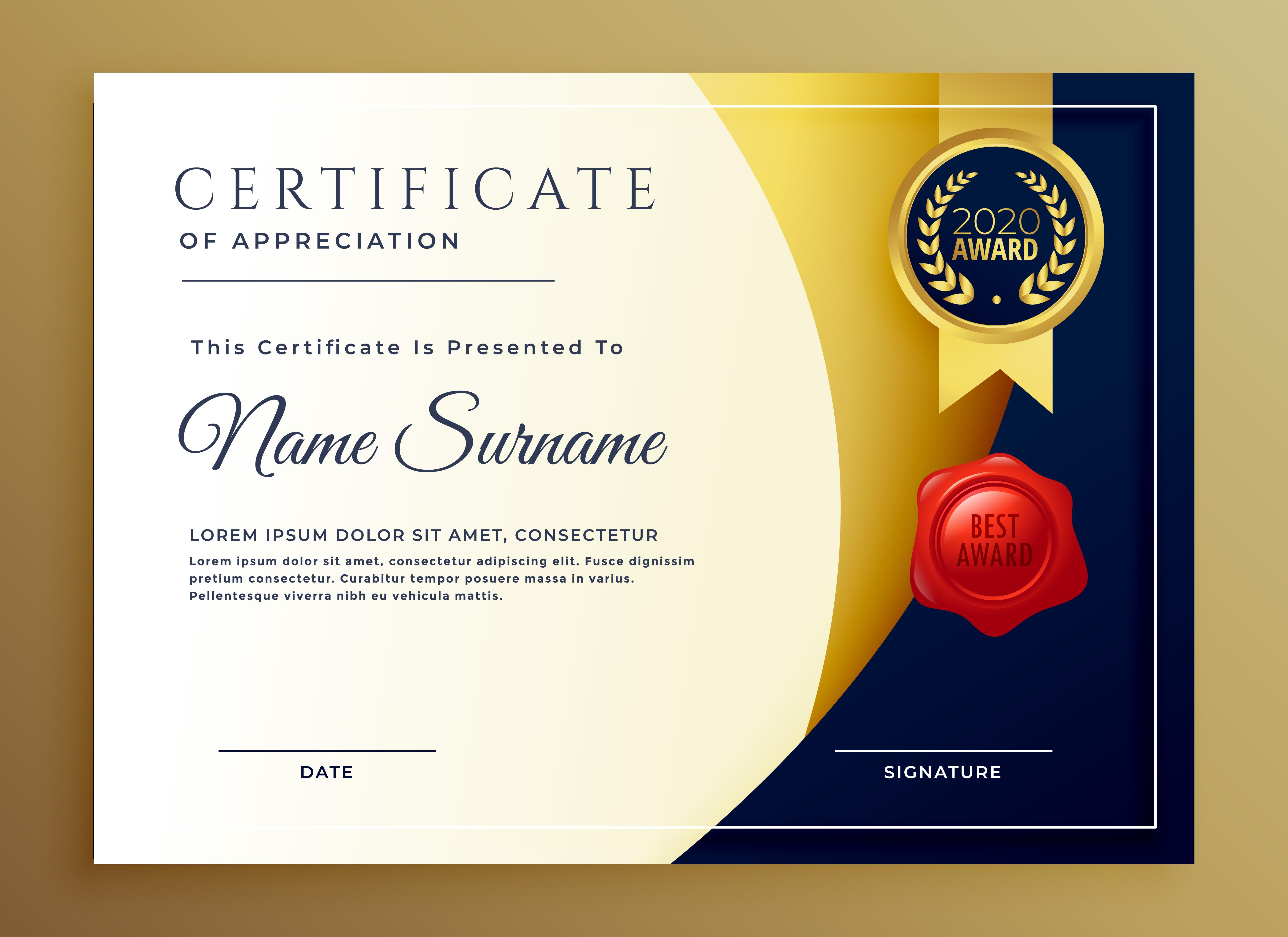 Elegant Certificate Of Appreciatiom Template Design