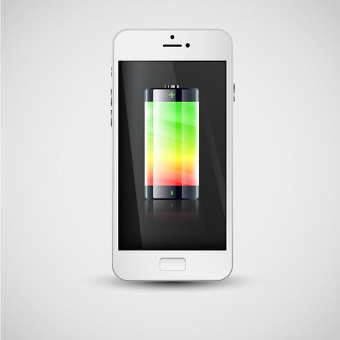 Realistische smartphone opladen, vectorillustratie