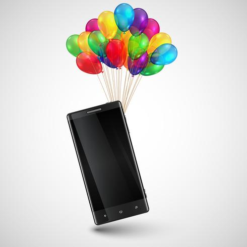 Cellphone as a gift with colorful balloons, vector