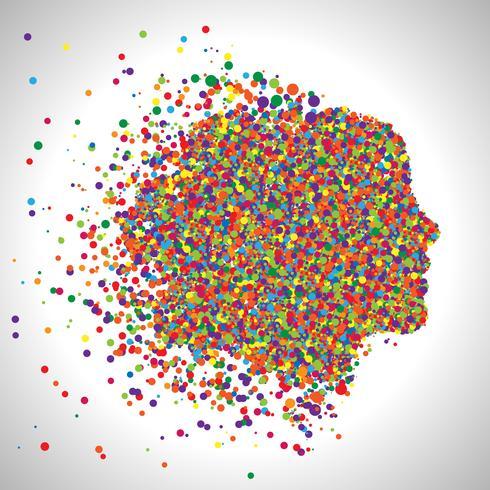 Cara feita por pontos coloridos, vetor