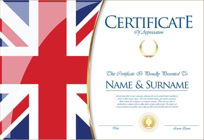 Certificaat of diploma het ontwerp van de vlag van het Verenigd Koninkrijk