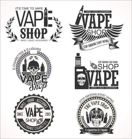 Collection rétro d'étiquettes de magasin de Vape vecteur
