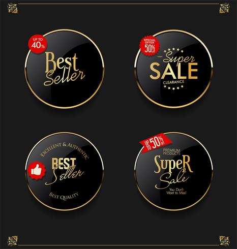 Retro vintage guld märken och etikettsamling