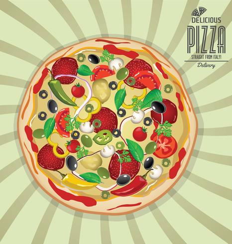Fondo de pizza de diseño retro. vector