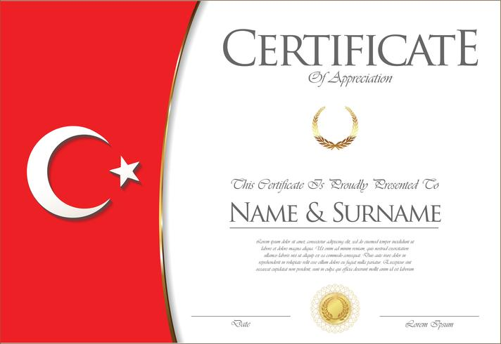 Certifikat eller diplom Turkiet flaggdesign vektor